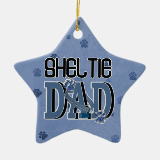 Sheltie DAD Double-Sided Star Ceramic Christmas Ornament