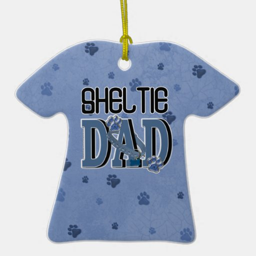 Sheltie DAD Double-Sided T-Shirt Ceramic Christmas Ornament