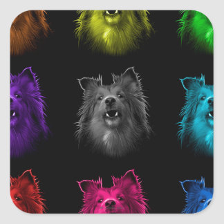 Sheltie dog art 0207 BB Square Sticker