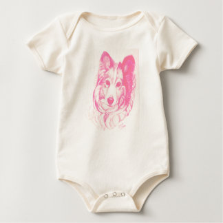 Sheltie Dog Baby outfit by artist Carol Zeock Baby Bodysuit