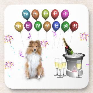 Sheltie Dog Happy New Year Drink Coaster