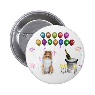 Sheltie Dog Happy New Year Pinback Button