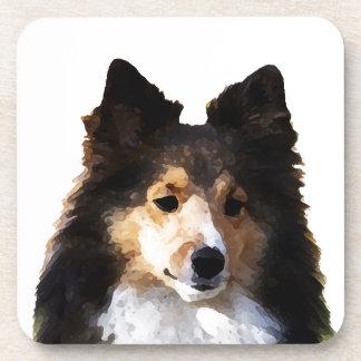 Sheltie Dog painting sketch Beverage Coaster