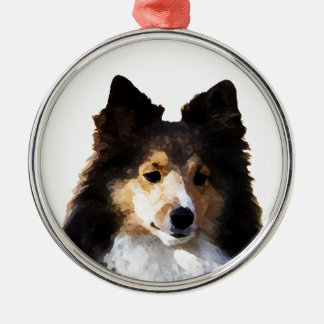 Sheltie Dog painting sketch Metal Ornament