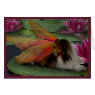 Sheltie Fairy on a Lily Pad. w Border psd Greeting Card