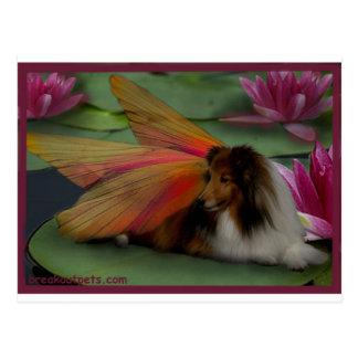 Sheltie Fairy on a Lily Pad. w Border psd Postcard