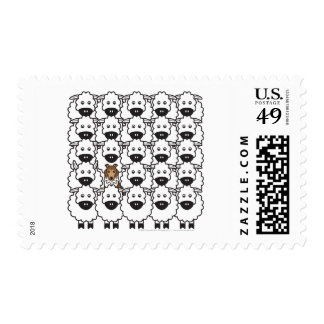 Sheltie in the Sheep Postage Stamp