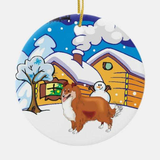 Sheltie Log Cabin Ceramic Ornament