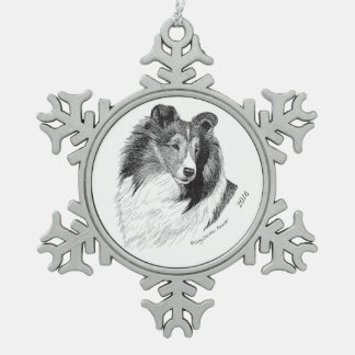Sheltie Pen & Ink By Cindy Alvarado - Yeary Snowflake Pewter Christmas Ornament