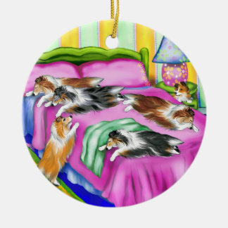 Sheltie Pink Comfort Double-Sided Ceramic Round Christmas Ornament