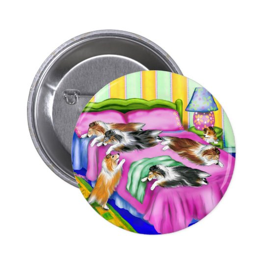 Sheltie Pink Comfort Pinback Button