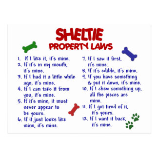 SHELTIE Property Laws 2 Postcard