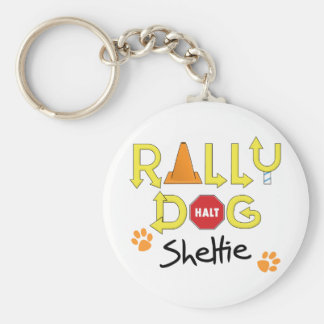 Sheltie Rally Dog Basic Round Button Keychain