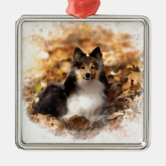 Sheltie Shetland Sheepdog Art Painting Metal Ornament