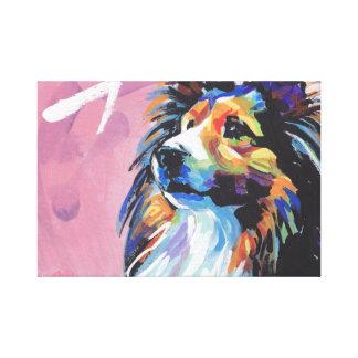 Sheltie Shetland Sheepdog pop art wrapped canvas