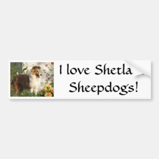 Sheltie standing in flowers bumper sticker