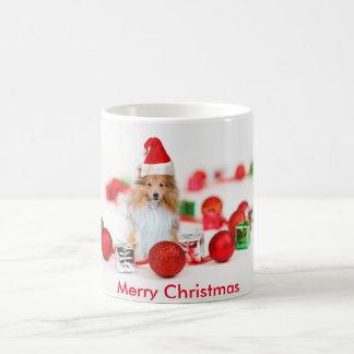 Sheltie wishing Merry Christmas Coffee Mug 11 oz
