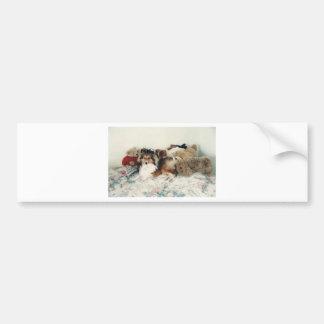 Sheltie with Stuffed Animals Bumper Sticker