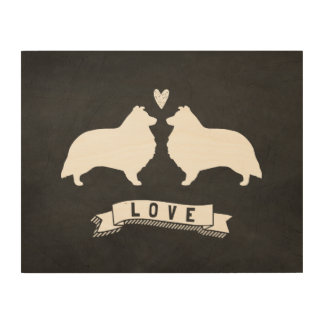Shelties Love - Dog Silhouettes w/ Heart Wood Print
