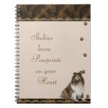 Shelties Pawrints en su ~brown del cuaderno del co