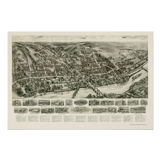 Shelton, CT Panoramic Map - 1919 Posters