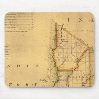 Shelton y el mapa de Kensett del estado de Indiana Mouse Pads