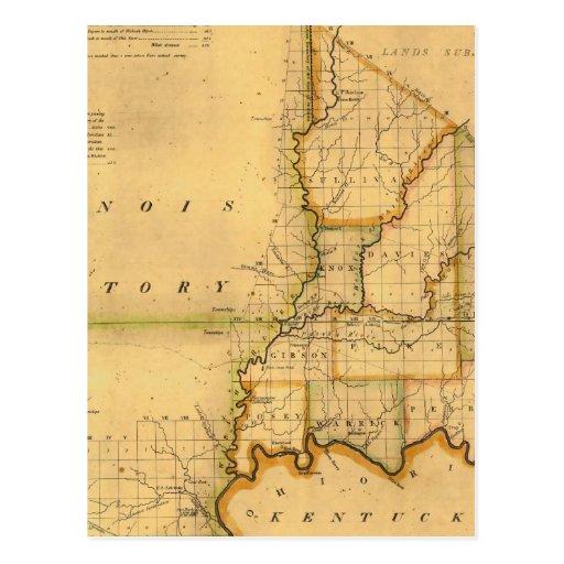 Shelton y el mapa de Kensett del estado de Indiana Tarjeta Postal