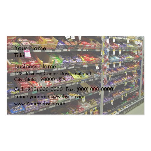Shelves of chocolate bars in store Double-Sided standard business cards (Pack of 100)