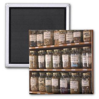 Shelves of herb jars 2 inch square magnet