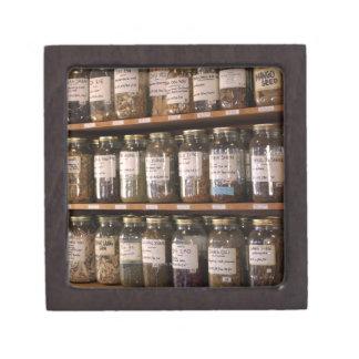Shelves of herb jars keepsake box