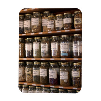 Shelves of herb jars magnet