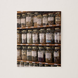 Shelves of herb jars puzzles