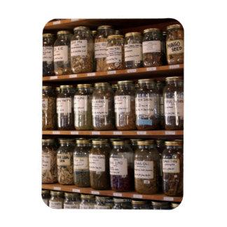 Shelves of herb jars rectangular photo magnet