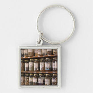 Shelves of herb jars Silver-Colored square keychain
