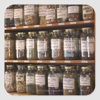 Shelves of herb jars square sticker