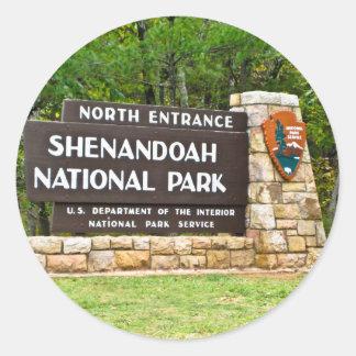 Shenandoah National Park North Entrance Sign Classic Round Sticker