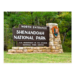 Shenandoah National Park North Entrance Sign Postcard