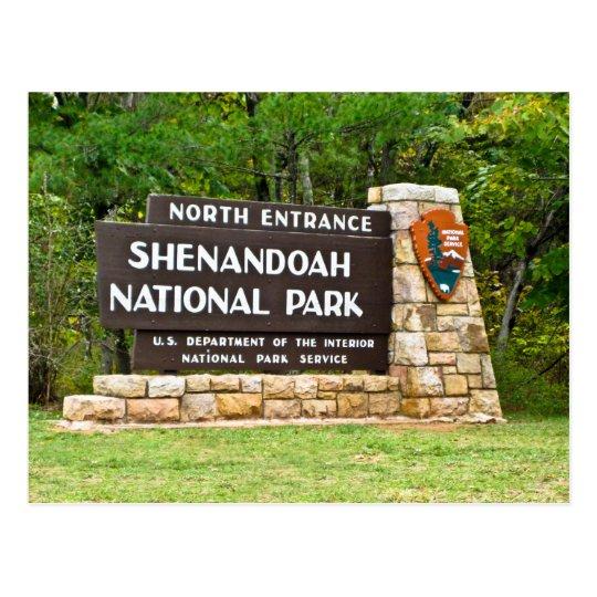 Shenandoah National Park North Entrance Sign Postcard