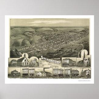 Shenandoah, PA Panoramic Map - 1889 Poster