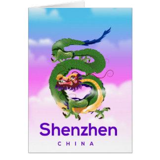 Shenzhen China Dragon travel poster Card