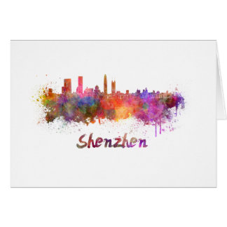 Shenzhen skyline in watercolor card