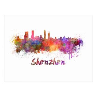 Shenzhen skyline in watercolor postcard
