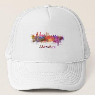 Shenzhen skyline in watercolor trucker hat