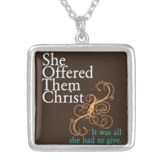 SheOfferedThemChrist  Motto Necklace
