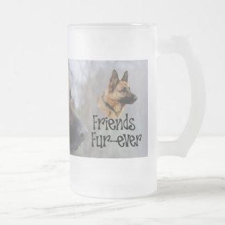 """sheperd beer jug """"Friends Fur more ever"""" glass jug Frosted Glass Beer Mug"""