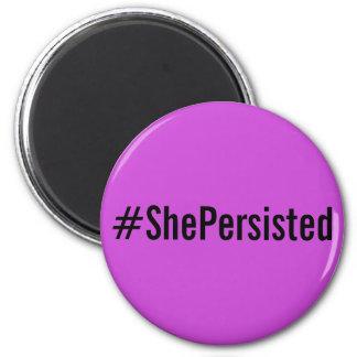 #ShePersisted, black letters on lavender magnet