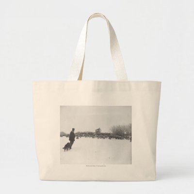 shepherd and dog at sheep camp bags by uwahc