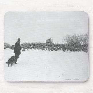 Shepherd and dog at sheep camp mouse pad