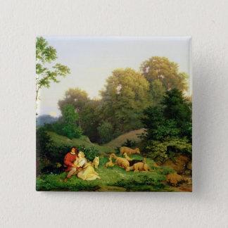 Shepherd and Shepherdess in a German landscape Button