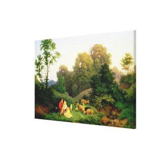 Shepherd and Shepherdess in a German landscape Canvas Print